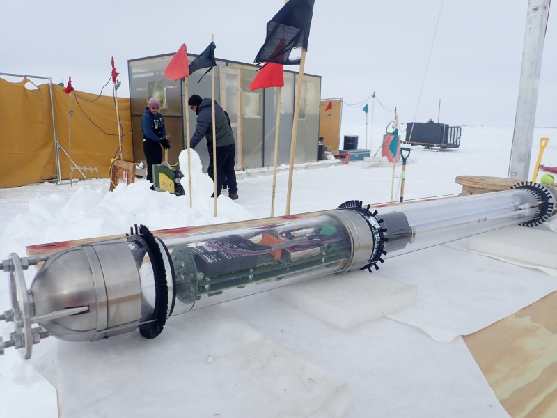The UV logger is ready to be deployed into the ice at the Crystal Palace for the SPICE Core camp. The goal of SPICE Core is to study different properties of the ice by deploying specialized devices into an open ice hole 1.75 km in depth. Amundsen-Scott South Pole Station, Antarctica.
