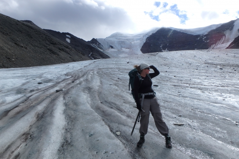 Rebecca Harris on Chamberlin Glacier. Brooks Range, Arctic National Wildlife Refuge, Alaska.