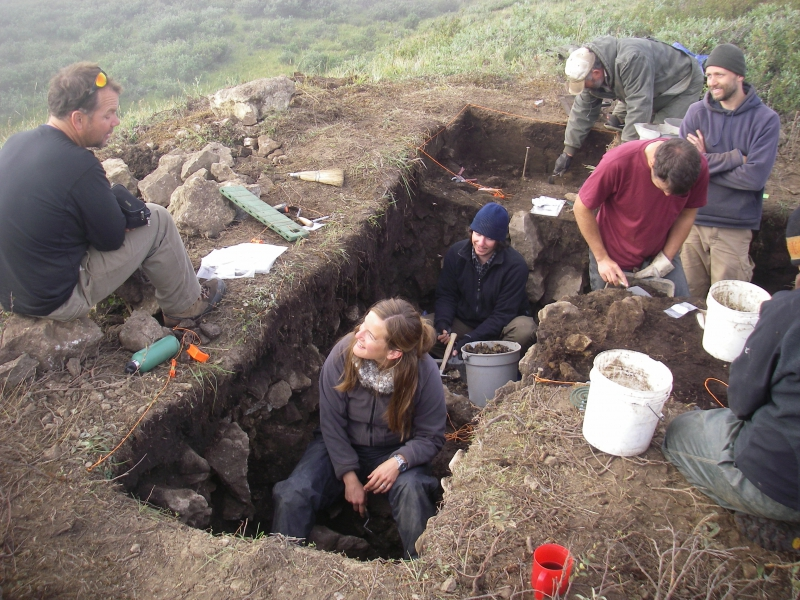 In the excavation pit at the Raven Bluff archaeological site in northwestern Alaska.