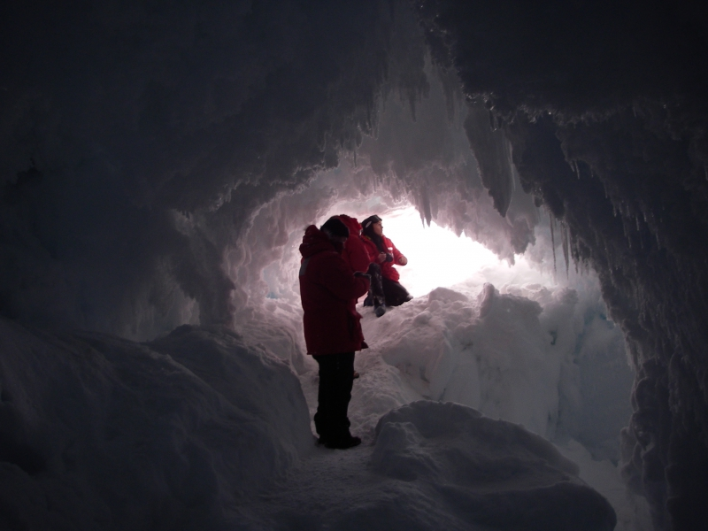 "Lindsay Knippenberg: ""The inside of the ice cave was really beautiful. There were feathery ice crystals everywhere."" McMurdo Station, Antarctica.Credit to read: Photo By Lindsay Knippenberg (PolarTREC 2009), Courtesy of ARCUS"