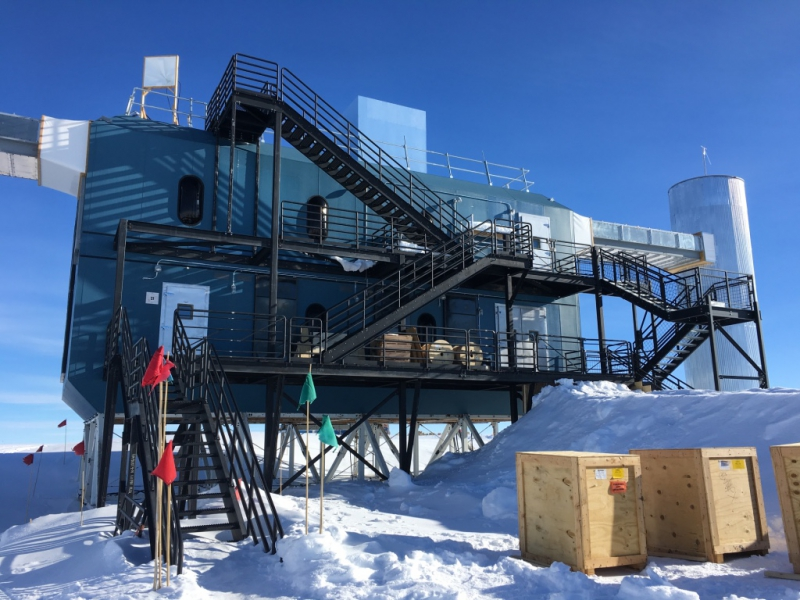 The IceCube Neutrino Observatory at Amundsen-Scott South Pole Station, Antarctica.