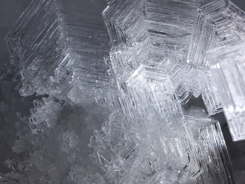 A close-up view of ice crystal formations inside a permafrost tunnel in Utqiagvik, Alaska.