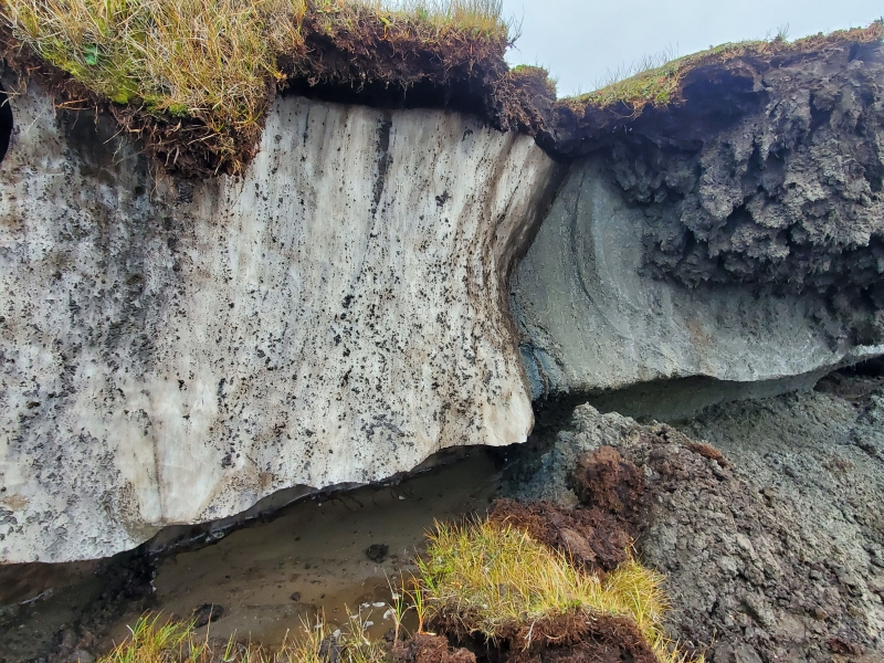 Coastal erosion exposes the permafrost along the coast of Utqiagvik, Alaska.