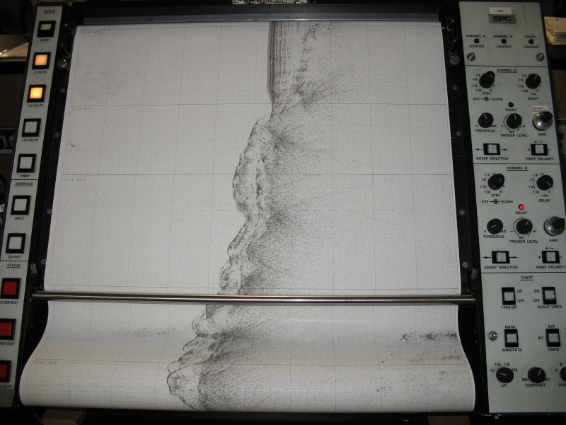 A seismic image of the ocean floor in the Drake Passage. Aboard the Nathaniel B. Palmer in the Drake Passage in the South Atlantic Ocean.Coordinates: -59.14955, -41.47595Credit to read: Photo by Katie Pena (PolarTREC 2008/2009), Courtesy of ARCUS